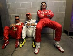 Helio Castroneves, Tony Kanaan and Dario Franchitti--my three favorite drivers all in one pic, be still my heart!!!