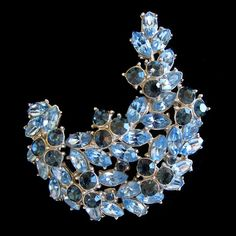 """Glitzy Blue 1960's Trifari Crystal Brooch for a """"Smart Woman"""" from Vintage Jewelry Girl! #vintagejewelry #vinatagejewellery #trifari"""
