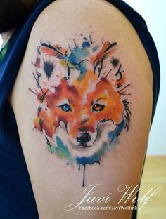 Watercolor + sketch me gusta mucho esta combinación de estilos. Diseño y estilo propio. Tattooed by @javiwolfink www.javiwolf.com