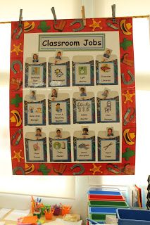 This past year I made this job chart for my class: It was simple to make and it worked quite well. I used a piece of poster board whic. Kindergarten Jobs, Preschool Classroom Jobs, Classroom Helper Chart, Preschool Job Chart, Free Preschool, Preschool Activities, Classroom Ideas, Montessori Elementary, Classroom Displays
