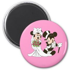 Mickey Mouse and Minnie Wedding 2 Inch Round Magnet