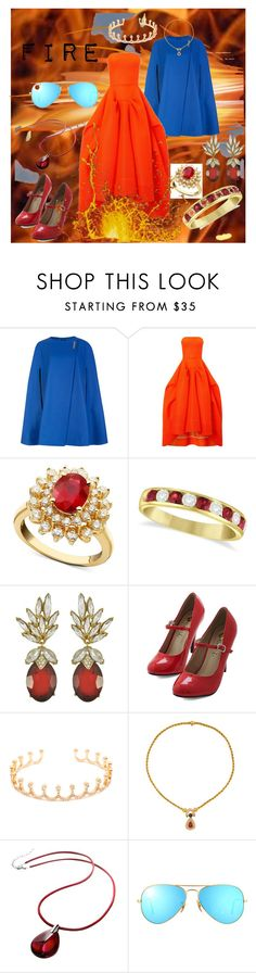 """""""Element: Fire"""" by gorgeous-georgia ❤ liked on Polyvore featuring Ted Baker, Maticevski, R.H. Macy's & Co., Allurez, Ciner, Jagga, Baccarat, Ray-Ban, Fire and element"""