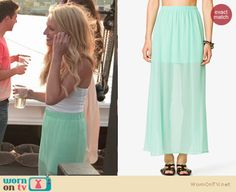 Jackie's mint green sheer maxi skirt on The Vineyard.  Outfit details: http://wornontv.net/18189/