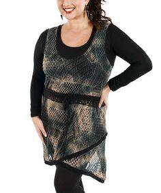 Look at this #zulilyfind! Black Crochet Sleeveless Tunic - Plus #zulilyfinds
