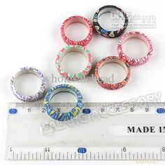 Wholesale Decalcomania Flower Fimo Rings 20mm Mixed Colors Fit Jewelry DIY 250089, Free shipping, $0.15-0.3/Piece | DHgate