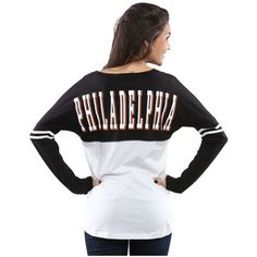 Women's Philadelphia Flyers 5th & Ocean by New Era White/Black Long Sleeve Spirit T-Shirt size M