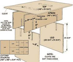 Knock-Down Worktable. Uses a single sheet of ply wood.