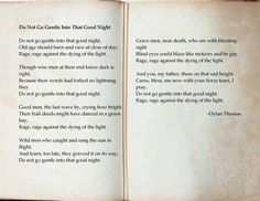 """Do Not Go Gentle Into That Good Night"" by Dylan Thomas (poem)"