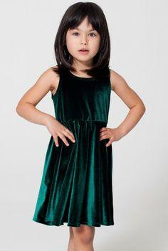 American Apparel Stretch Velvet Skater Dress (Toddler & Little Girls)
