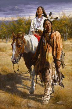 Lakota Indian Bringing His Bride Home