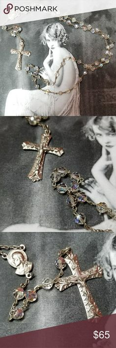 "Vintage Aurora Borealis Crystal Rosary Vintage AB crystal rosary with silvert tone cross and centerpiece. Highly detailed crucifix. Centerpiece deptics the Virgin Mary and baby Jesus on one side and Jesus on the other. Cross measures 1.5"" x1"" centerpiece is just over .5"" x .25"". Loop: 30"". Drop including centerpiece and cross 6"". Excellent vintage condition. Reasonable offers welcome and accepted. Add to a bundle and I'll offer you a great deal ❤ Vintage Jewelry Necklaces"