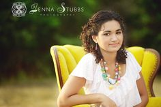 My yellow chair looks great in this location. #senior #pose