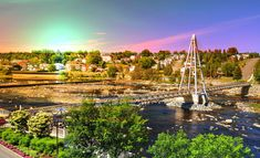 Colorful Pedestrian River Cross Footbridge in Saguenay Pictures Of Bridges, Royalty Free Images, Royalty Free Stock Photos, Pixel Image, Pedestrian, Us Images, Image Photography, Stock Pictures, Photo Galleries
