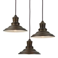 allen + roth Hainsbrook 18.3-in Aged Bronze Rustic Hardwired Multi-Light Cone Pendant
