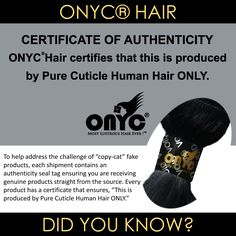 If you don't have the SEAL, then it's not the REAL #ONYCHair.  Don't be fooled by the other copycats.  Shop #ONYC today for your authentic Pure Cuticle Human #hair!  Shop US Now>>> ONYCHair.com Shop UK Now>>> ONYCHair.uk