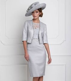 John Charles 25620 Lace Dress with Sleeve and Jacket Silver Wedding Outfits For Groom, Mother Of Bride Outfits, Mother Of Groom Dresses, Bride Groom Dress, Groom Outfit, Mothers Dresses, Mother Of The Bride, Mob Dresses, Lace Dress With Sleeves