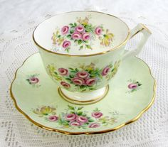 Aynsley Tea Cup and Saucer Pale Green with Small Pink Roses, Vintage Bone China