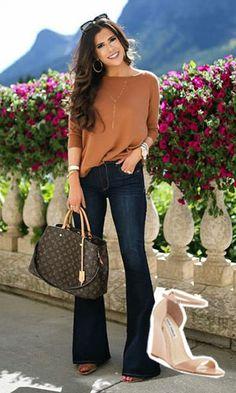 Sandal Anabela: Models for you to rock the heel with .- Sandália Anabela: Modelos para você arrasar no salto com conforto! Casual Curvy Fashion, Work Fashion, Fashion Pants, Fashion Outfits, Look Office, Jean Flare, Casual Work Outfits, Casual Looks, Smart Casual