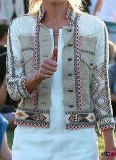 Sleeves Stand Collar Buttons Coats - White / S Denim Fashion, Boho Fashion, Womens Fashion, Leather Fashion, Jacket Style, Vest Jacket, Chanel Jacket, Fashion Details, Fashion Design