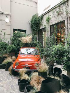 red Fiat at Merci in Paris - http://ruffledblog.com/paris-honeymoon-guide-le-marais