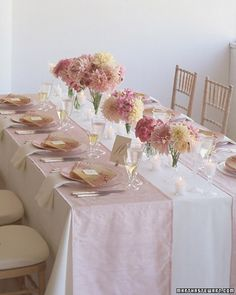 I like the table cloths, a wide runner with smaller runner in center.  Great for oblong tables
