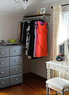 Clothes Rack wall hanging rails diy ideas decorating tips