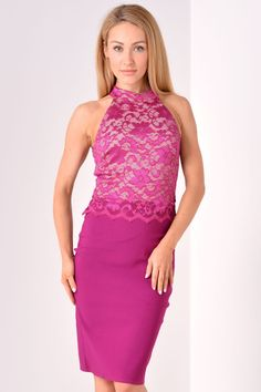 Tania Lace Panel Halter Dress in Magenta