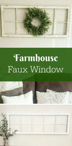 Love this farmhouse style faux window frame hanging above the couch. It gives it a home-y feel #farmhouse #ad