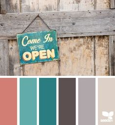 Love this Palette! Rustic Hues: Coral, Teal, Warm Turquoise, Dark Brown Grey, Grey and Gray Tan.another possible color scheme for the home. Design Seeds, Paint Schemes, Colour Schemes, Color Combos, Colour Palettes, Color Pallets, My New Room, Brown And Grey, Dark Brown
