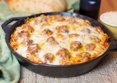 Spaghetti & Meatballs is a perfect family friendly meal. Baked Spaghetti & Meatballs is cooked in one pan, topped with lots of cheese, and baked until hot, bubbly, and melted ooey gooey! Casserole Recipes, Pasta Recipes, Dinner Recipes, Cooking Recipes, Chicken Recipes, Baked Spaghetti And Meatballs, Cast Iron Recipes, Albondigas, Ground Beef Recipes