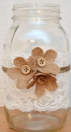 Country Chic Centerpiece with Burlap Flowers