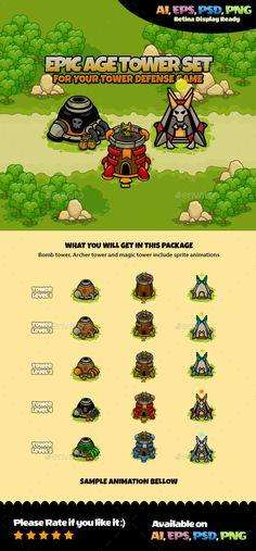 Tower Set Vol 1 - #Sprites #Game #Assets   Download http://graphicriver.net/item/tower-set-vol-1/12586442?ref=sinzo