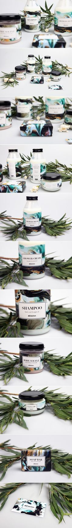 Branding and packaging design range for natural beauty products brand, Ozmetics. Designs for shampoo, shower cream, body souflé, facial cream and soap bar packaging Soap Packaging, Beauty Packaging, Cosmetic Packaging, Brand Packaging, Product Packaging, Candle Packaging, Design Packaging, Product Branding, Corporate Design