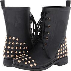 8f47594521 Chooka Studded Stomper Black Rain Boots, Women's Lace Up Boots, Low Heel  Boots,
