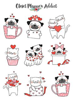 Valentine's Day Dogs and Cats Planner Stickers Valentine Cartoon, Valentine Doodle, Valentines Day Drawing, Valentines Day Dog, Planner Stickers, Journal Stickers, Love Stickers, Cat Stickers, Valentines Illustration