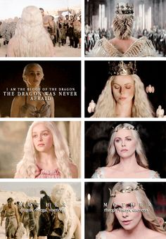 Daenerys Targaryen & Rhaella Targaryen + parallels: Your queen mother was always mindful of her duty. (I like how Charlize Theron as Revina (?) in Snow White and the Huntsman is always used by fans to portray Rhaella) Hbo Series, Series Movies, Winter Is Here, Winter Is Coming, Khaleesi, Daenerys Targaryen, The Mother Of Dragons, George Rr Martin, Game Of Thrones Tv
