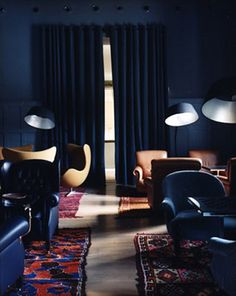 Ilse Crawford Kranzbach Spa Hotel, moody, dark indigo, blue, Persian rugs