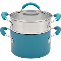3-Quart  Classic Covered Saucepot with Steamer in Peacock