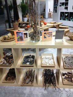 Nice display trays and natural materials