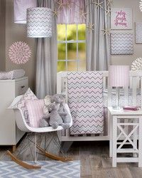 Caitlyn Crib Set and accessories for a completely perfect baby nursery.  Modern pink and gray chevron.