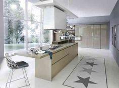 cuisine avec îlot central design en beige System Collection par Pedini