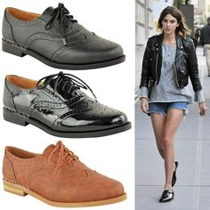 WOMENS LADIES BROGUES FLAT LACE UP SMART VINTAGE OXFORD PUMPS RETRO SHOES SIZE #BuffShoes #Loafers #Formal