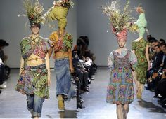 """""""Junya Watanabe (2008) – This Japanese designer at his Spring 2009 show, presented models wearing pieces made out of African motifs, exaggerated headwraps and an evident reflection that he had made a trip to Africa."""""""