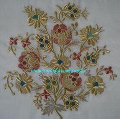 türk işi nakış5 Jacobean Embroidery, Gold Embroidery, Cross Stitch Embroidery, Machine Embroidery, Embroidery Designs, Drawn Thread, Thread Art, Gold Work, Design Crafts