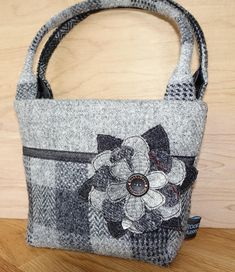 5140b33d25 Grey and black patchwork effect checked Harris Tweed mini bag