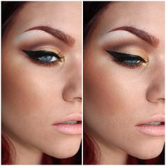 Warm Copper&Gold -  nyxcosmetics Bohemian Chic palette, Urban Decay Half Baked, MAC's Gold Glitter and Copper Sparkle Pigment and MAC Myth