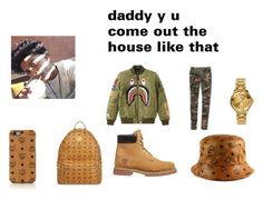 """""""DADDY"""" by nayla-thomas on Polyvore featuring MCM, A BATHING APE, Timberland and Valentino"""