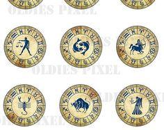 12 Zodiac Collection Digital Collage Sheet 2 inch & 1.5 inch | Etsy Decoupage Jars, 12 Zodiac, Collage Sheet, Digital Collage, Glass Pendants, Digital Image, Clip Art, Scrapbook, Bottle