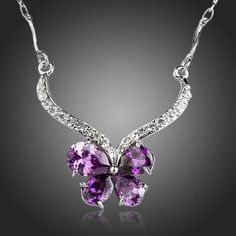 AZORA Beautiful Butterfly With Purple Cubic Zirconia Pendant Necklace Fashion Accessories, Fashion Jewelry, Women Jewelry, Crystal Jewelry, Sterling Silver Jewelry, Beautiful Butterflies, Cute Jewelry, Beautiful Outfits, Pendant Necklace