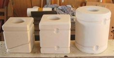 three different plaster molds